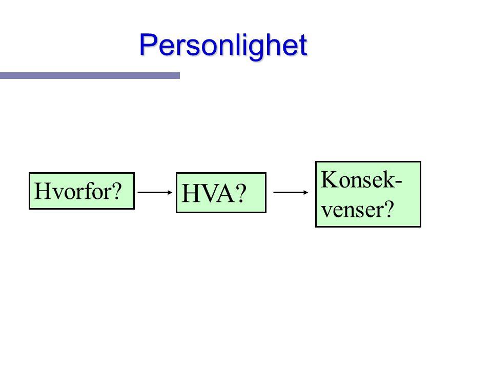 Personlighet Konsek-venser Hvorfor HVA