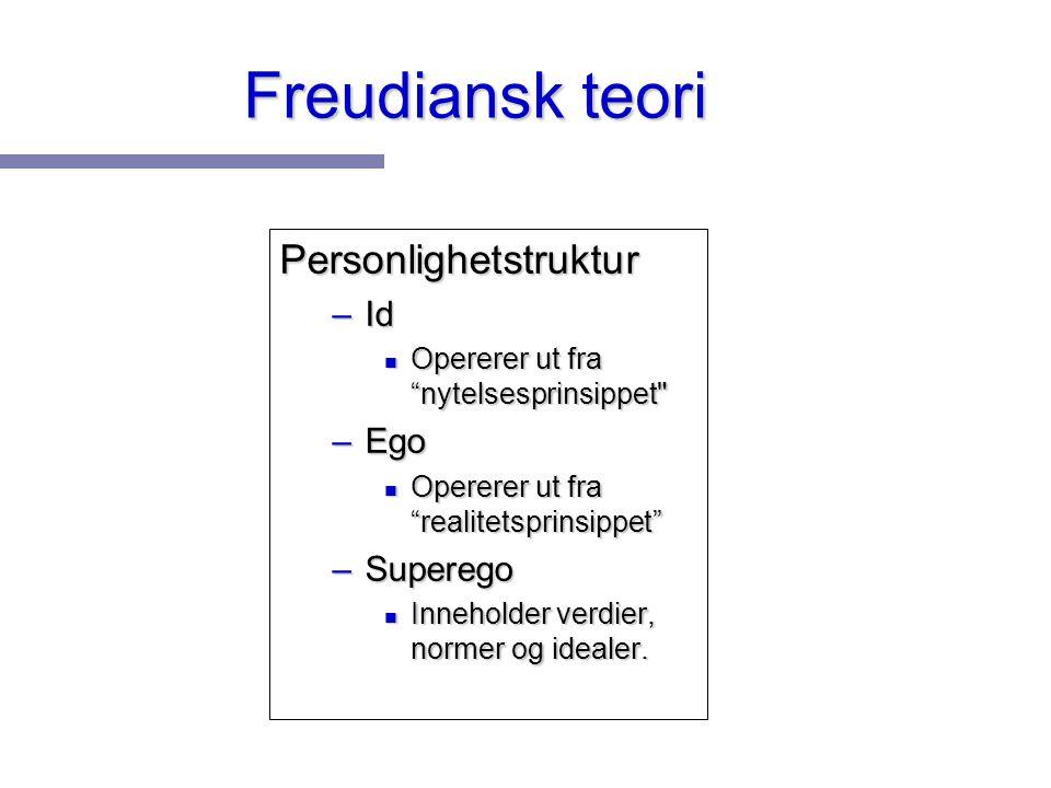 Freudiansk teori Personlighetstruktur Id Ego Superego