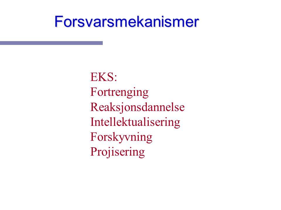 Forsvarsmekanismer EKS: Fortrenging Reaksjonsdannelse