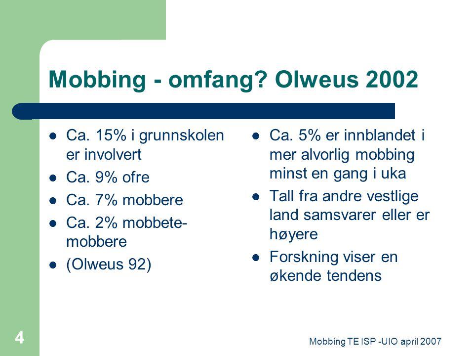 Mobbing - omfang Olweus 2002