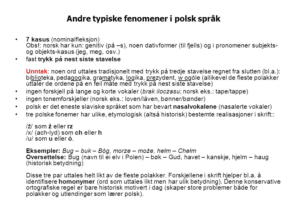 Andre typiske fenomener i polsk språk