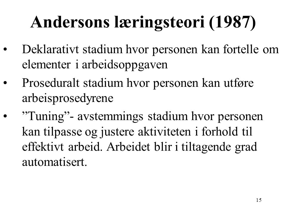 Andersons læringsteori (1987)