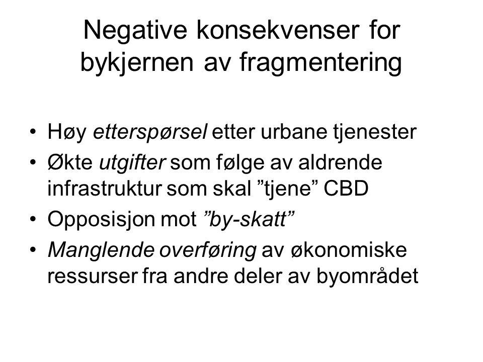 Negative konsekvenser for bykjernen av fragmentering