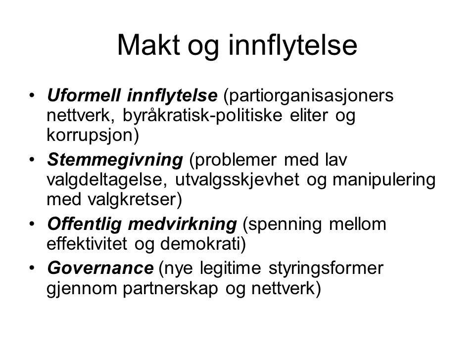Makt og innflytelse Uformell innflytelse (partiorganisasjoners nettverk, byråkratisk-politiske eliter og korrupsjon)