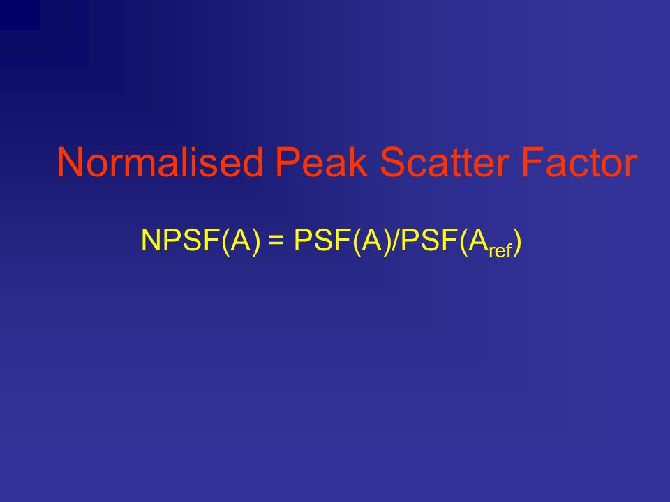 Normalised Peak Scatter Factor