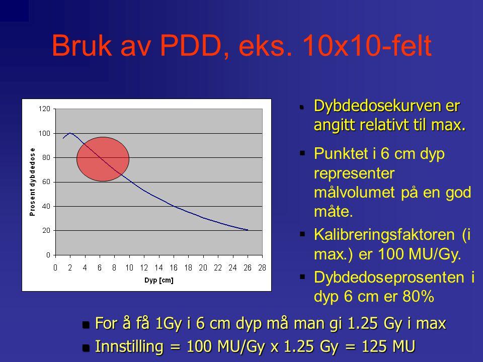 Bruk av PDD, eks. 10x10-felt Dybdedosekurven er angitt relativt til max. Punktet i 6 cm dyp representer målvolumet på en god måte.