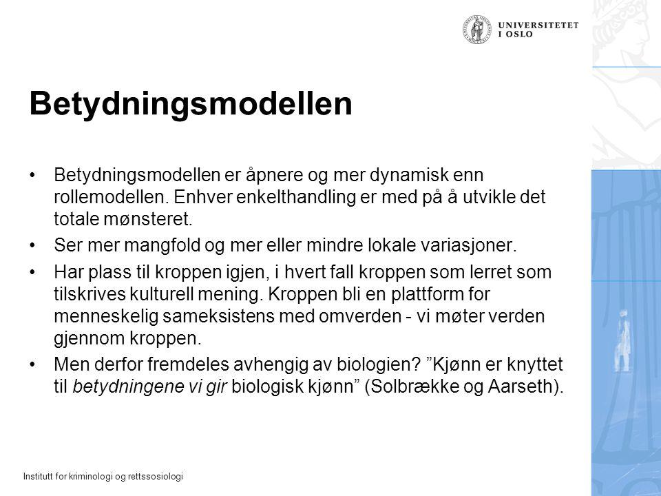Betydningsmodellen Betydningsmodellen er åpnere og mer dynamisk enn rollemodellen. Enhver enkelthandling er med på å utvikle det totale mønsteret.