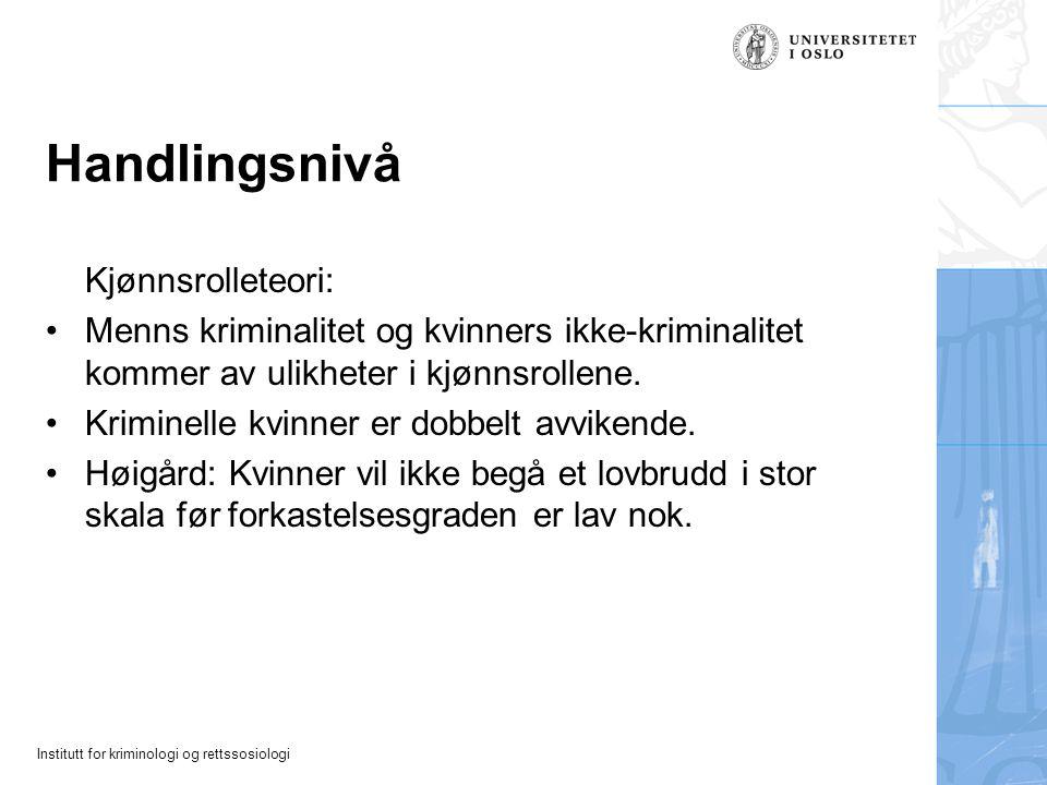 Handlingsnivå Kjønnsrolleteori: