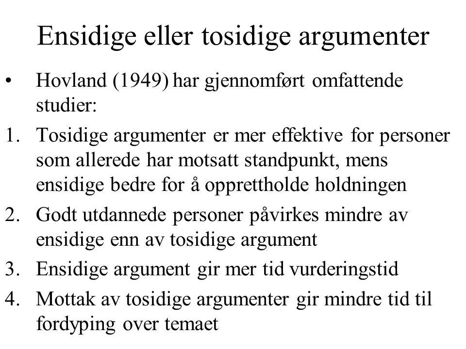 Ensidige eller tosidige argumenter
