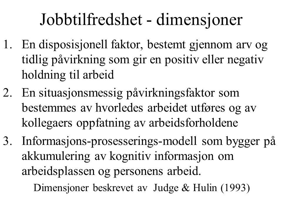Jobbtilfredshet - dimensjoner
