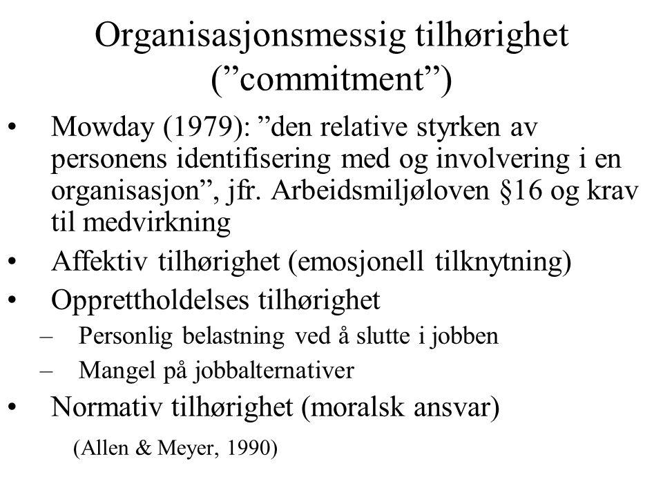 Organisasjonsmessig tilhørighet ( commitment )