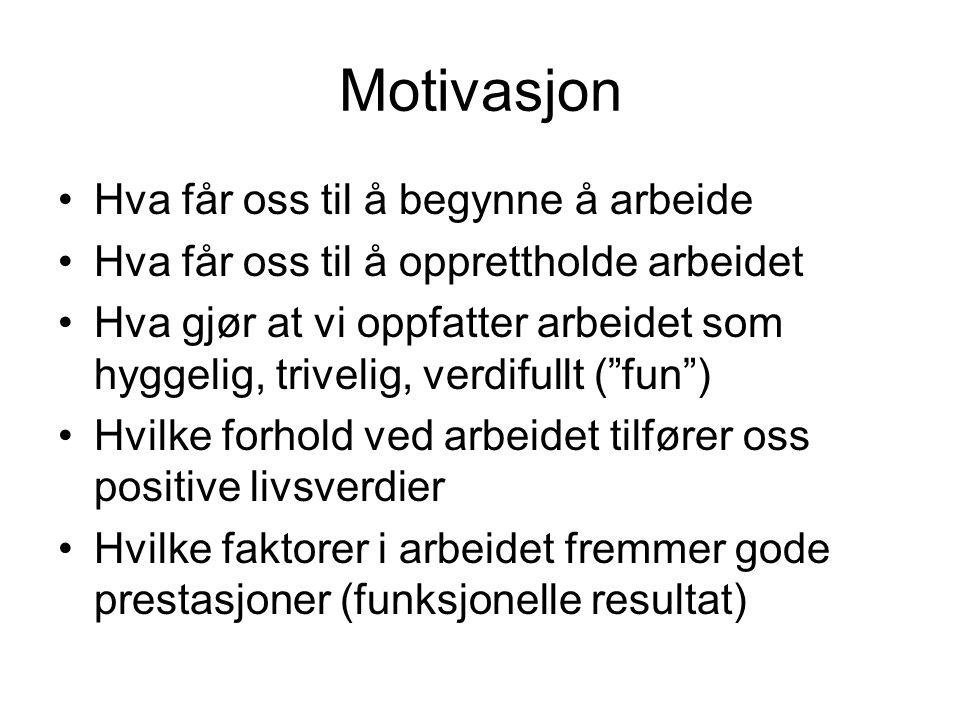 Motivasjon Hva får oss til å begynne å arbeide