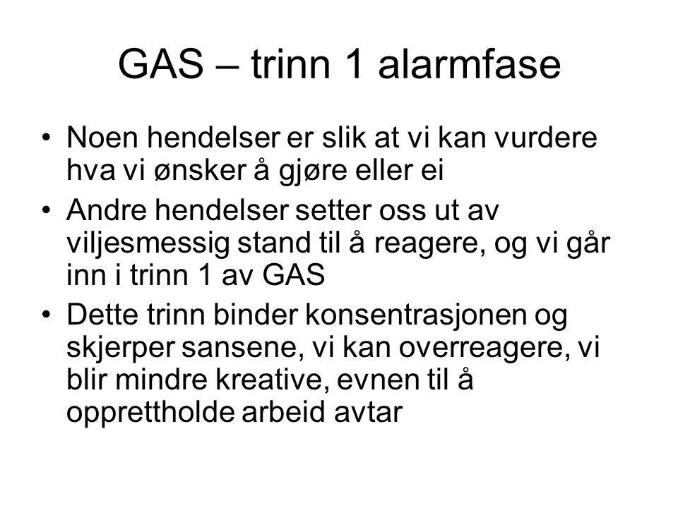 GAS – trinn 1 alarmfase Noen hendelser er slik at vi kan vurdere hva vi ønsker å gjøre eller ei.
