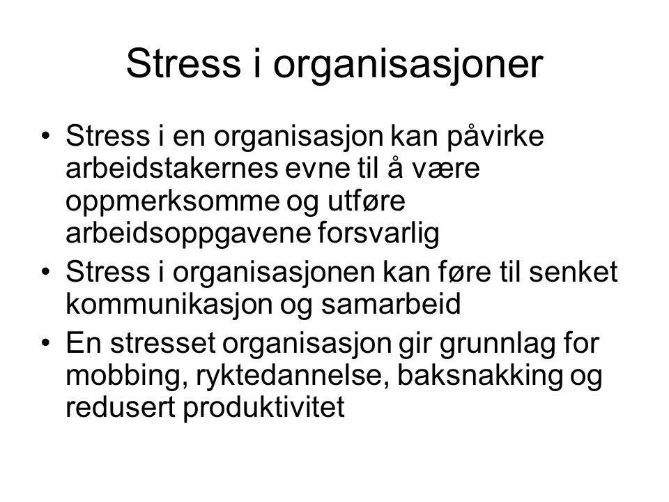 Stress i organisasjoner