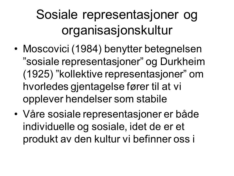 Sosiale representasjoner og organisasjonskultur
