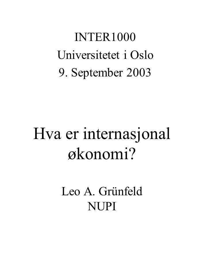 Hva er internasjonal økonomi Leo A. Grünfeld NUPI