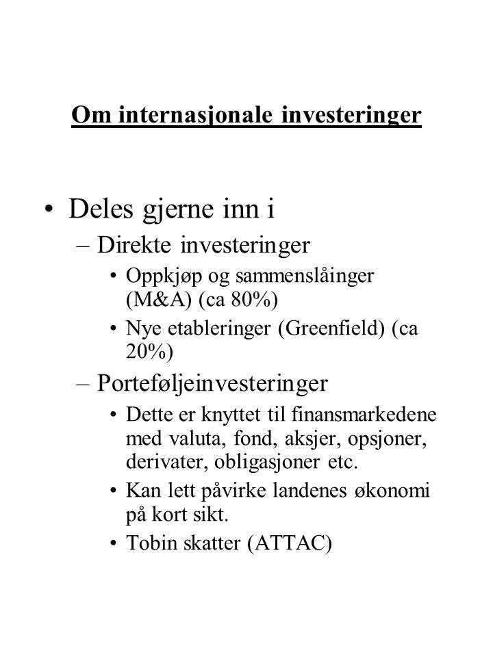 Om internasjonale investeringer