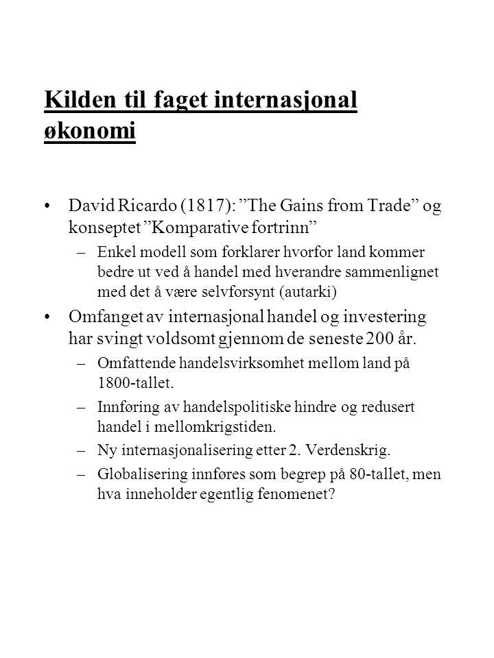 Kilden til faget internasjonal økonomi