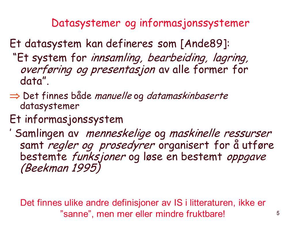 Datasystemer og informasjonssystemer