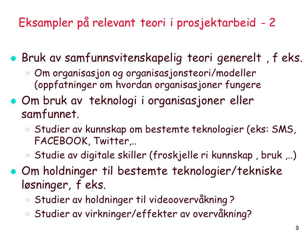 Eksampler på relevant teori i prosjektarbeid - 2