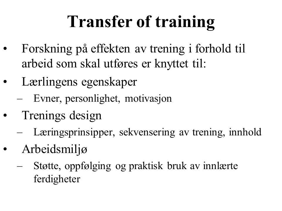Transfer of training Forskning på effekten av trening i forhold til arbeid som skal utføres er knyttet til: