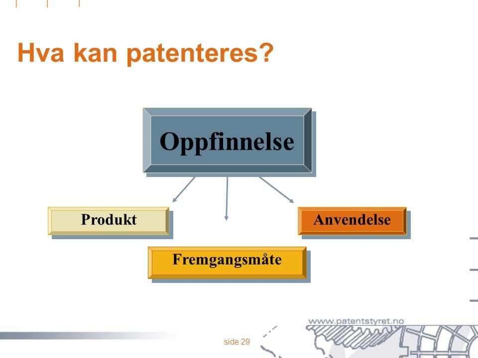 Hva kan patenteres Oppfinnelse Anvendelse Fremgangsmåte Produkt