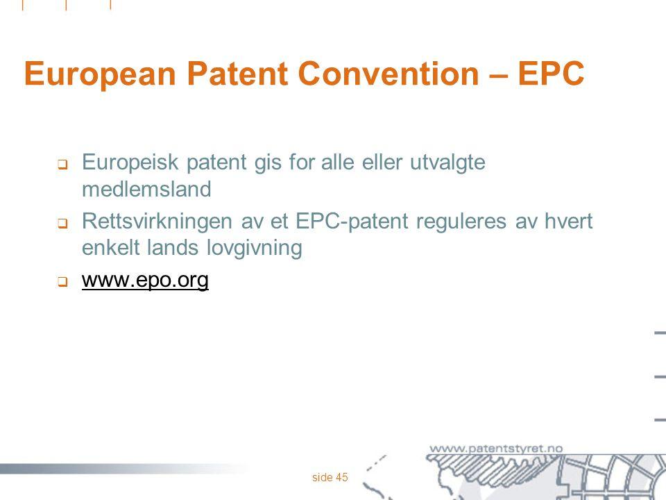 European Patent Convention – EPC