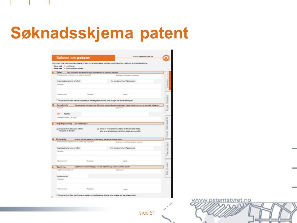 Søknadsskjema patent