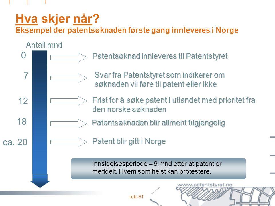 Hva skjer når Eksempel der patentsøknaden første gang innleveres i Norge