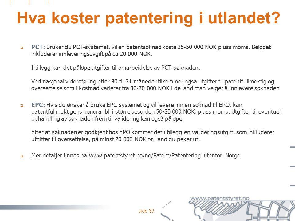 Hva koster patentering i utlandet