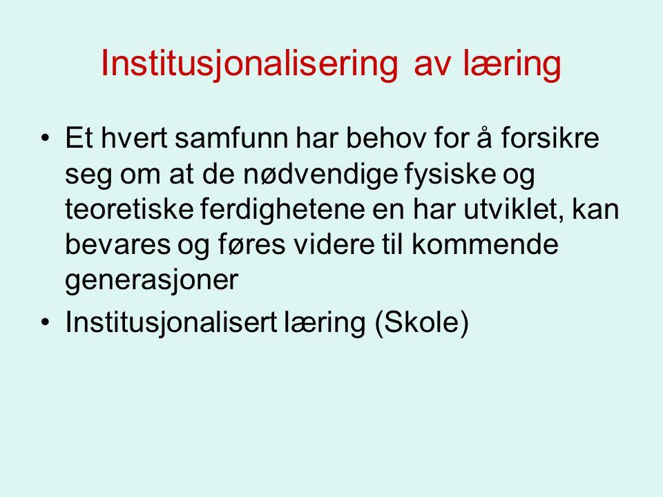Institusjonalisering av læring