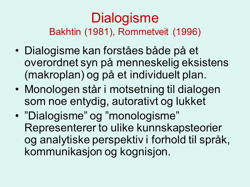 Dialogisme Bakhtin (1981), Rommetveit (1996)