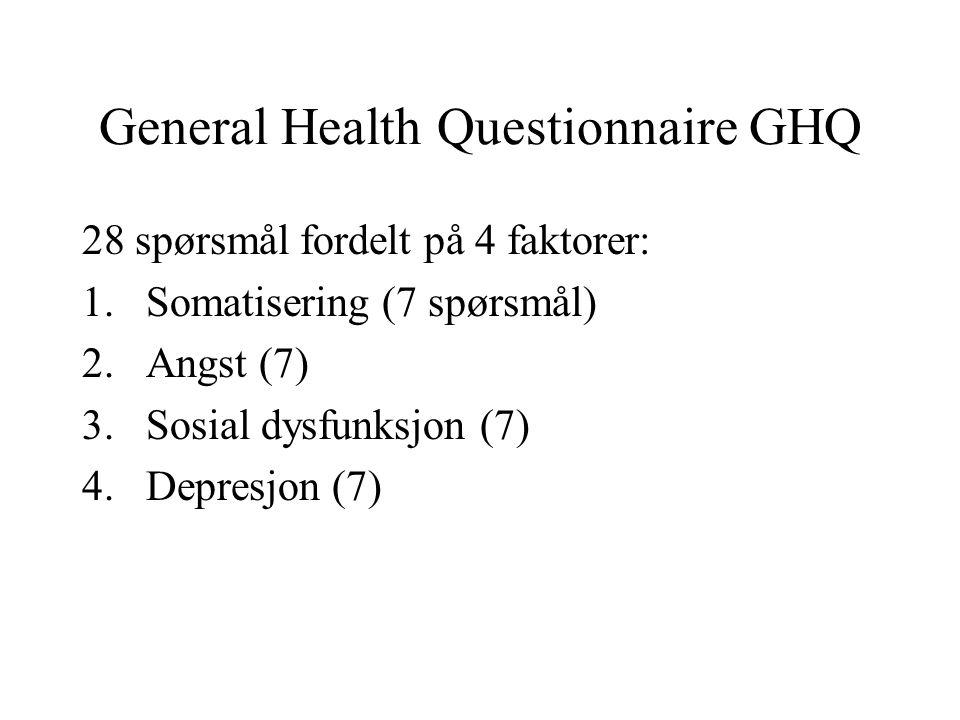 General Health Questionnaire GHQ