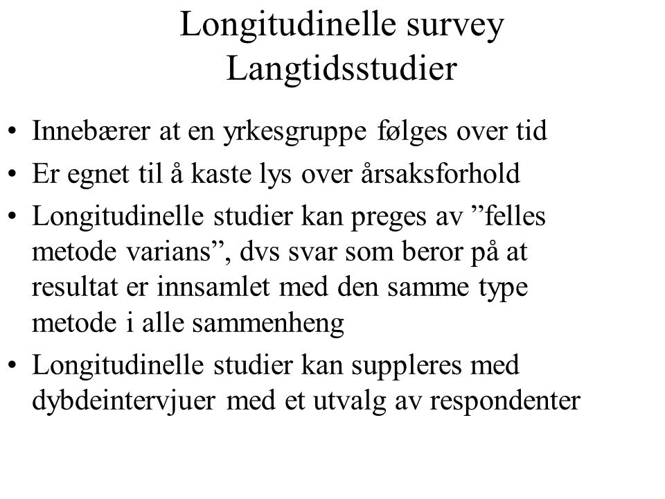 Longitudinelle survey Langtidsstudier