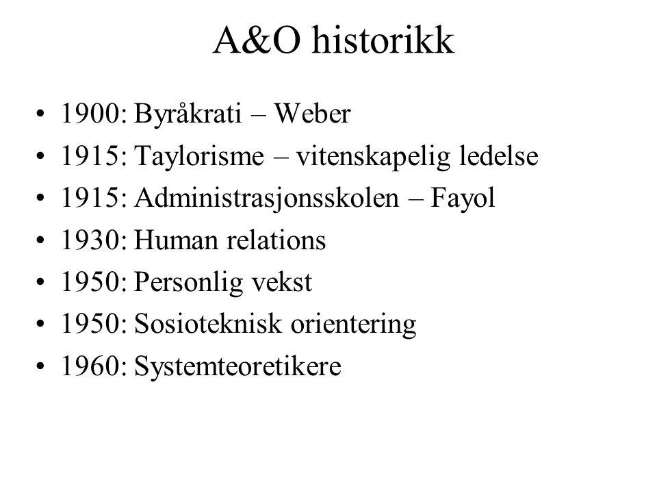 A&O historikk 1900: Byråkrati – Weber