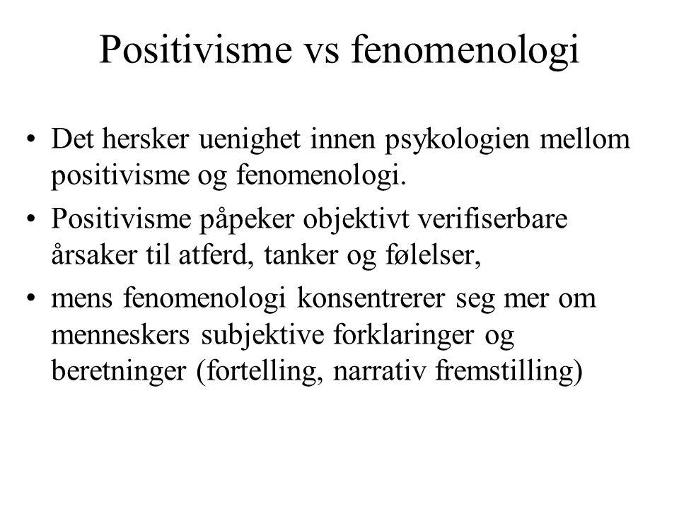 Positivisme vs fenomenologi