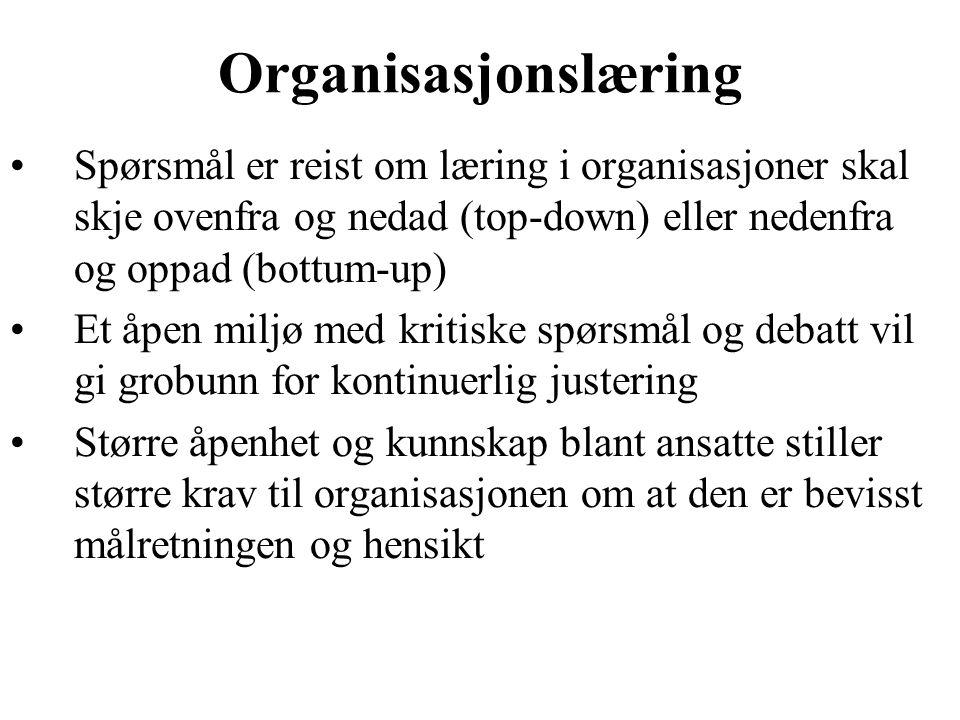 Organisasjonslæring Spørsmål er reist om læring i organisasjoner skal skje ovenfra og nedad (top-down) eller nedenfra og oppad (bottum-up)