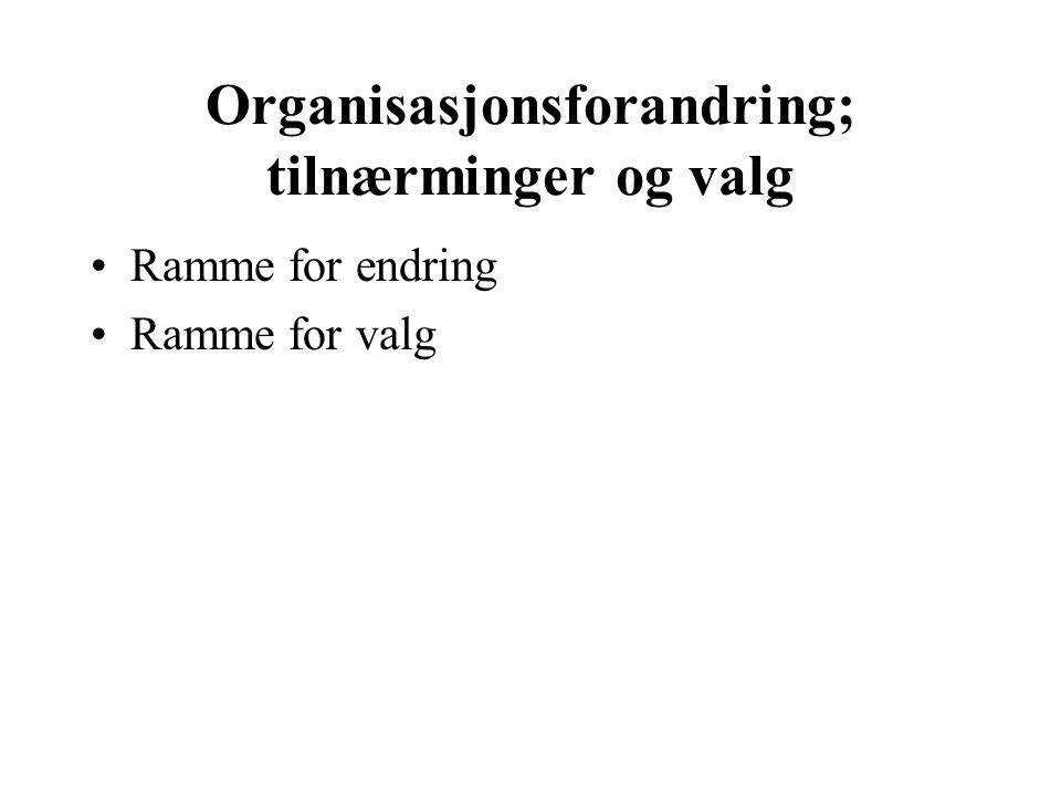 Organisasjonsforandring; tilnærminger og valg