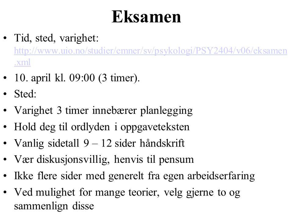 Eksamen Tid, sted, varighet: http://www.uio.no/studier/emner/sv/psykologi/PSY2404/v06/eksamen.xml. 10. april kl. 09:00 (3 timer).