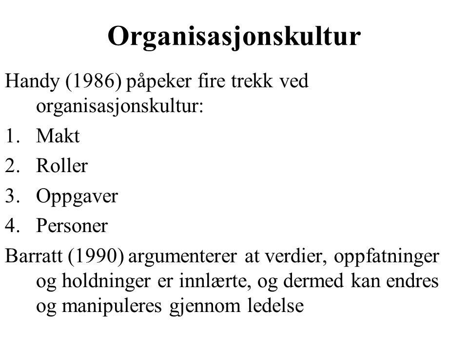Organisasjonskultur Handy (1986) påpeker fire trekk ved organisasjonskultur: Makt. Roller. Oppgaver.