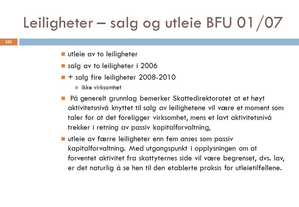 Leiligheter – salg og utleie BFU 01/07