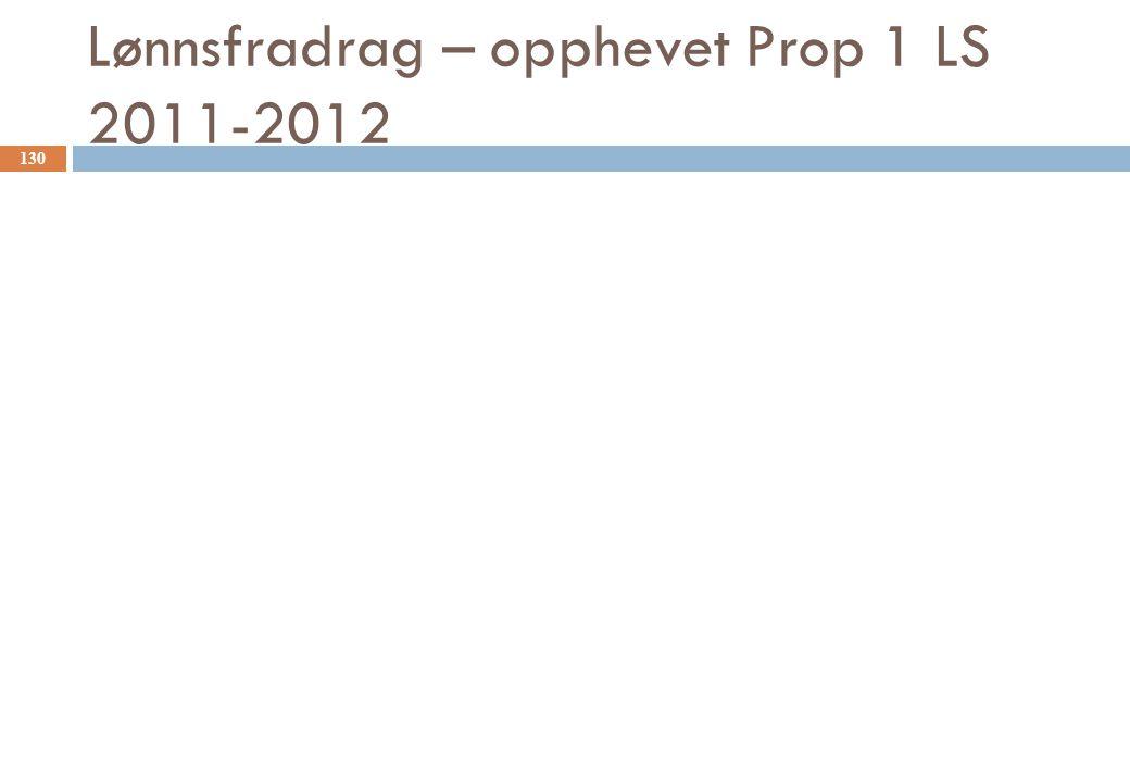 Lønnsfradrag – opphevet Prop 1 LS 2011-2012