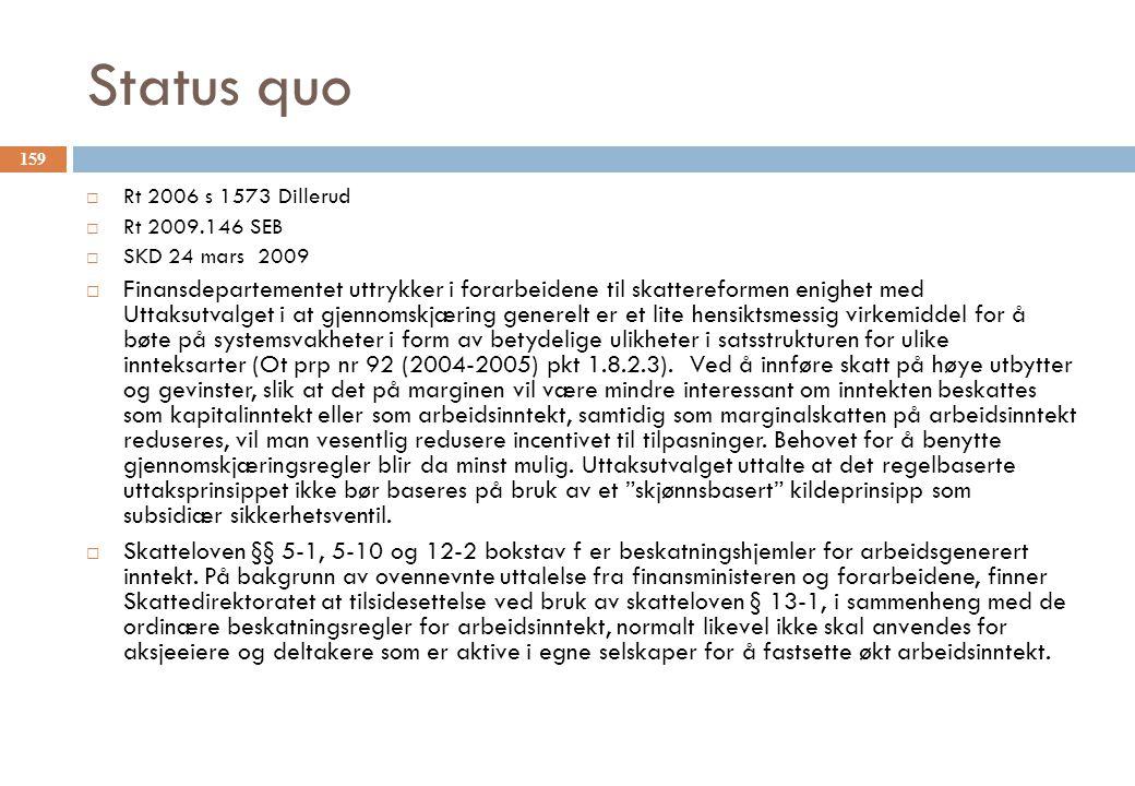 Status quo Rt 2006 s 1573 Dillerud. Rt 2009.146 SEB. SKD 24 mars 2009.