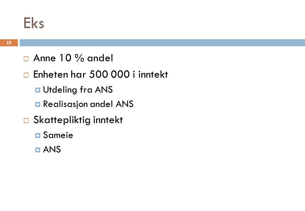 Eks Anne 10 % andel Enheten har 500 000 i inntekt