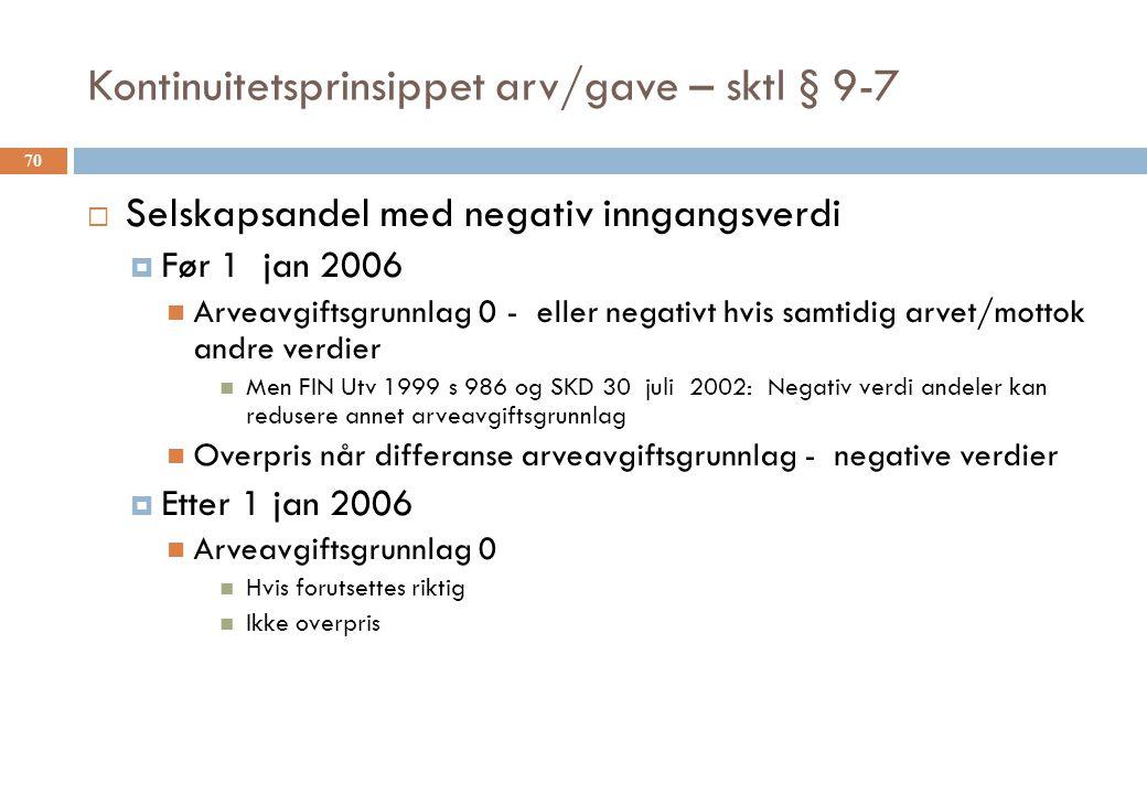 Kontinuitetsprinsippet arv/gave – sktl § 9-7