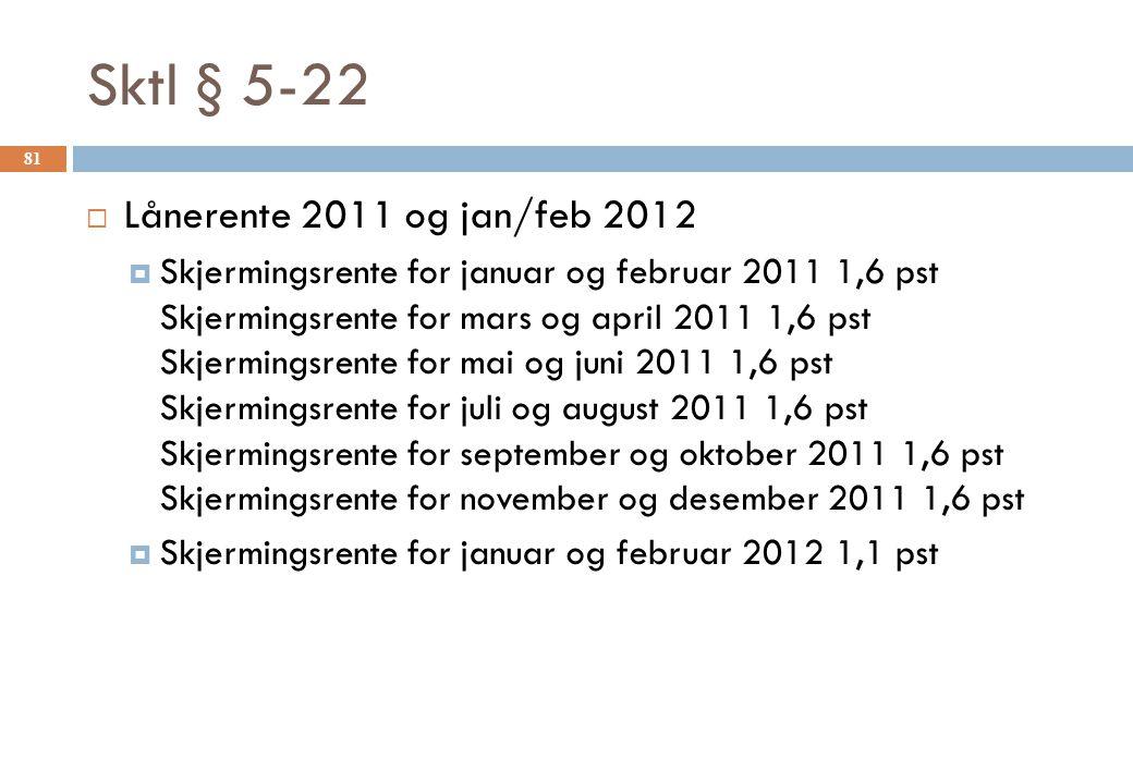 Sktl § 5-22 Lånerente 2011 og jan/feb 2012