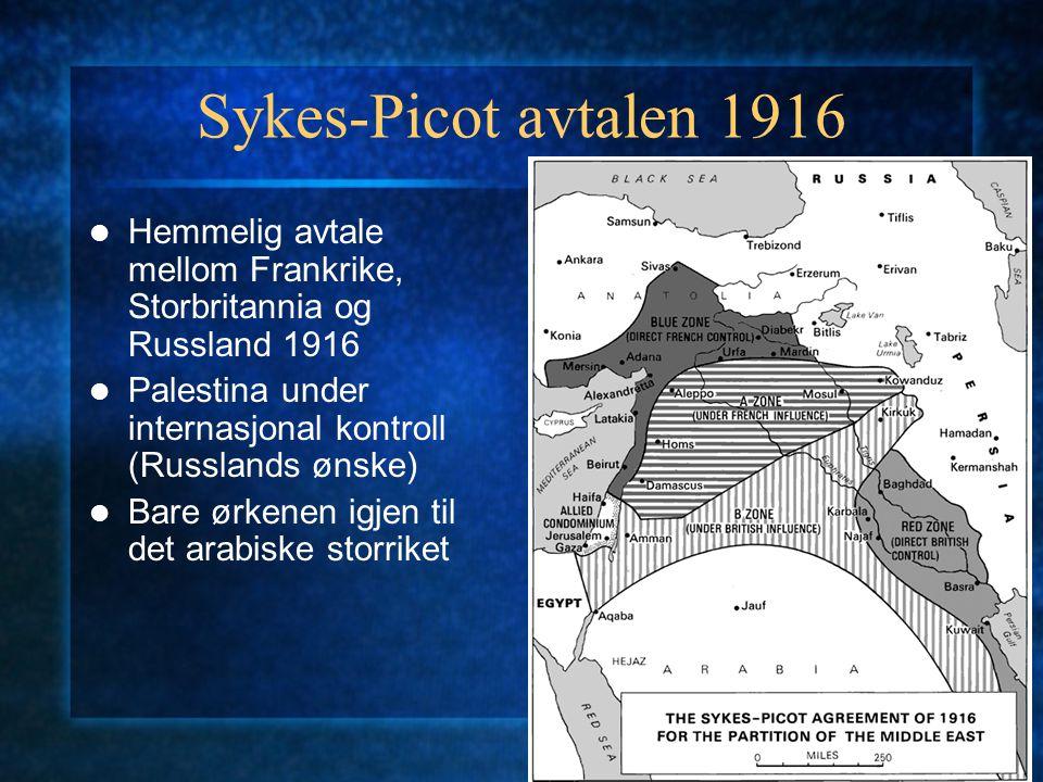 Sykes-Picot avtalen 1916 Hemmelig avtale mellom Frankrike, Storbritannia og Russland 1916. Palestina under internasjonal kontroll (Russlands ønske)