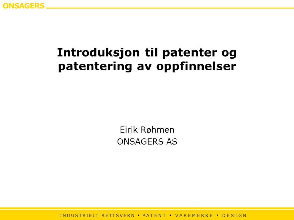Introduksjon til patenter og patentering av oppfinnelser