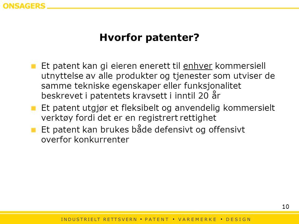 Hvorfor patenter