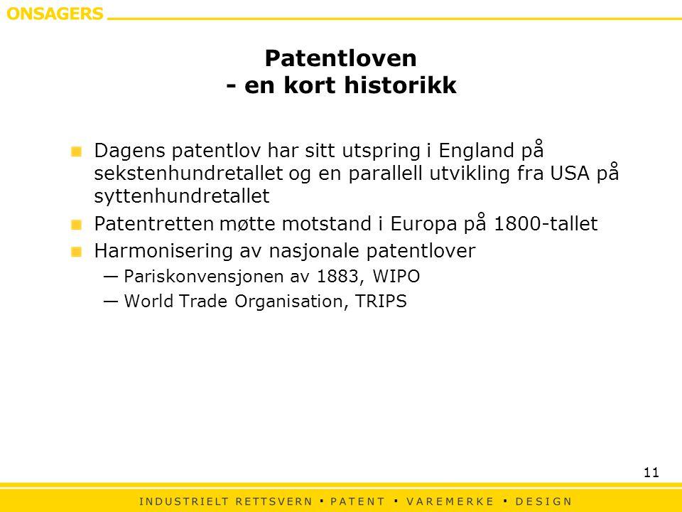 Patentloven - en kort historikk